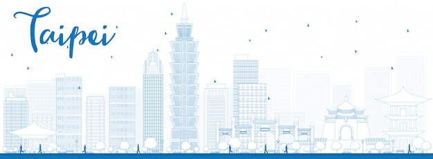 Outline taipei skyline with blue landmarks banner background