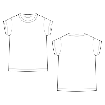 Outline technical sketch children's t shirt on white background
