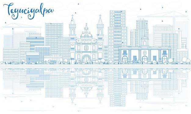Очертите линию горизонта тегусигальпы с синими зданиями и отражениями. векторные иллюстрации. деловые поездки и концепция туризма с современной архитектурой. изображение для презентационного баннера и веб-сайта.