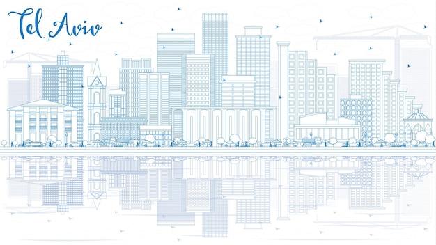 Очертите горизонт тель-авива с синими зданиями и отражениями. векторные иллюстрации. деловые поездки и концепция туризма с современной архитектурой. изображение для презентационного баннера и веб-сайта.