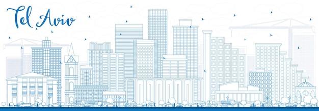 Очертите горизонт тель-авива с синими зданиями. векторные иллюстрации. деловые поездки и концепция туризма с современной архитектурой. изображение для презентационного баннера и веб-сайта.