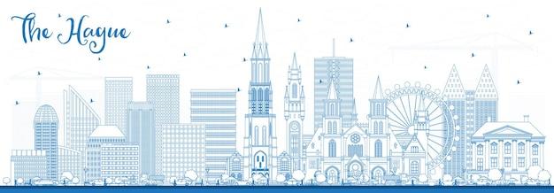 파란색 건물이 있는 헤이그 네덜란드 도시 스카이라인 개요. 역사적인 건축과 비즈니스 여행 및 관광 개념. 랜드마크가 있는 헤이그 도시 풍경. 프리미엄 벡터
