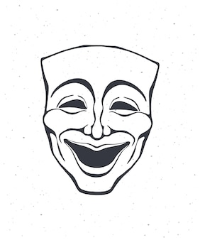 Outline of theatrical comedy mask opera mask for happy actor vector illustration