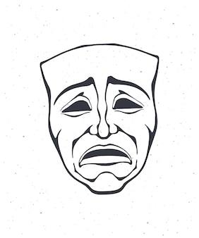 Outline of theatrical drama mask vintage opera mask for tragedy actor vector illustration