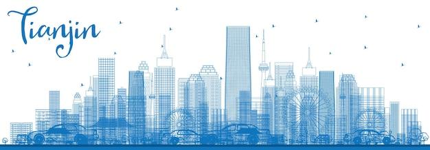 青い建物で天津のスカイラインの輪郭を描きます。ベクトルイラスト。近代的な建物とビジネス旅行と観光の概念。プレゼンテーションバナープラカードとwebサイトの画像。