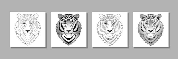 Outline tigers set животные принты для текстиля и футболок принты тату графический дизайн