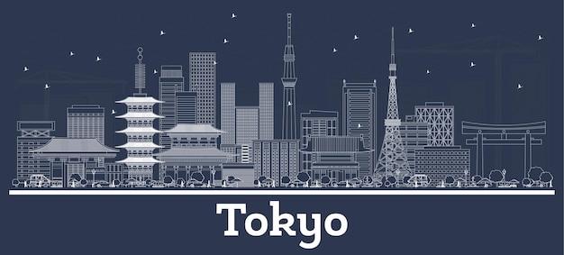 白い建物のある東京ジャパンシティスカイラインの概要。ベクトルイラスト。歴史的建造物との出張とコンセプト。ランドマークのある東京の街並み。
