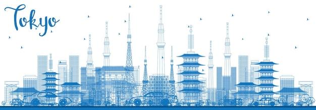 青い建物で東京のスカイラインの概要を説明します。ベクトルイラスト。近代建築とビジネス旅行と観光の概念。プレゼンテーションバナープラカードとwebサイトの画像。