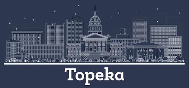 Наброски на фоне линии горизонта города топика канзас сша с белыми зданиями. векторные иллюстрации. деловые поездки и концепция с исторической архитектурой. город топика с достопримечательностями.