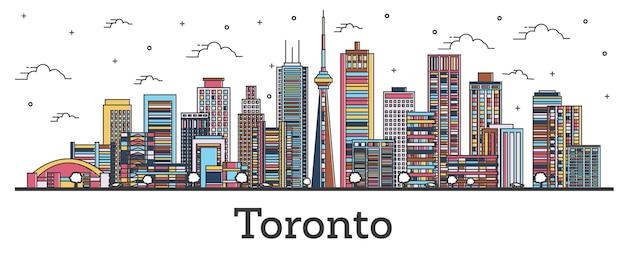 흰색 절연 색상 건물 개요 토론토 캐나다 도시 스카이 라인