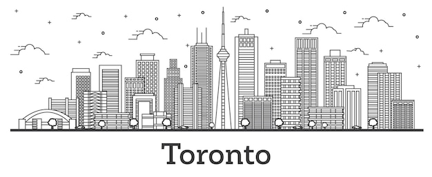 흰색 절연 현대 건물 개요 토론토 캐나다 도시 스카이 라인