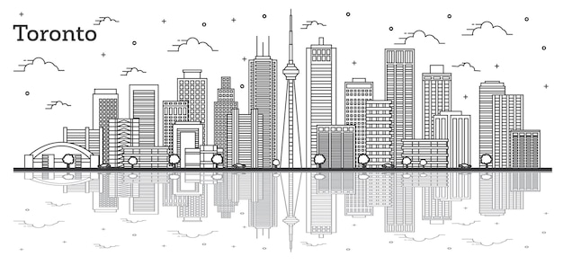 Outline toronto canada city skyline with modern buildings and reflections isolated on white. vector illustration. toronto cityscape with landmarks.