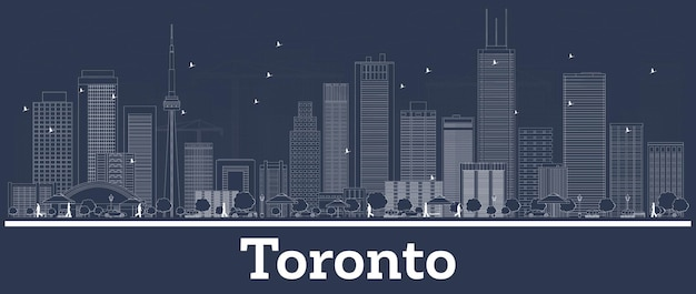 Outline toronto canada city skyline with white buildings. vector illustration. business travel and concept with modern architecture. toronto cityscape with landmarks.