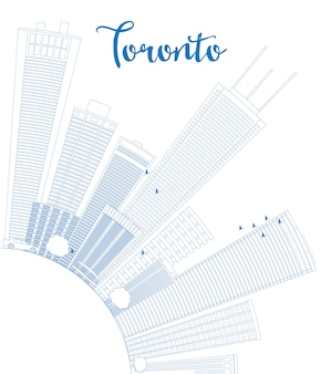 Outline toronto skyline with blue buildings and copy space.
