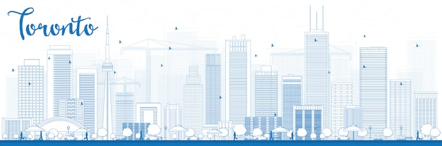 Outline toronto skyline with blue buildings