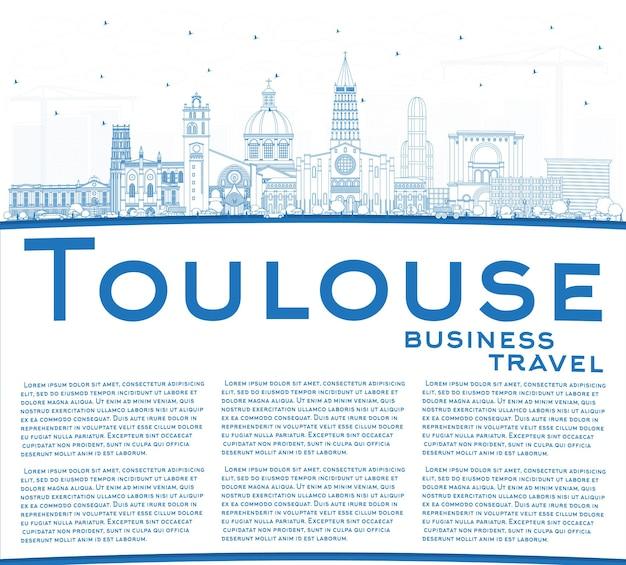 파란색 건물 및 복사 공간이 있는 툴루즈 프랑스 도시 스카이라인 개요. 벡터 일러스트 레이 션. 역사적인 건축과 비즈니스 여행 및 개념. 랜드마크가 있는 툴루즈의 풍경.