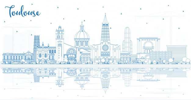 파란색 건물 및 반사와 툴루즈 프랑스 도시 스카이 라인 개요. 벡터 일러스트 레이 션. 역사적인 건축과 비즈니스 여행 및 개념. 랜드마크가 있는 툴루즈의 풍경.
