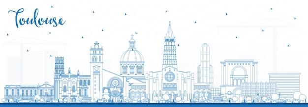 파란색 건물 개요 툴루즈 프랑스 도시 스카이 라인. 벡터 일러스트 레이 션. 역사적인 건축과 비즈니스 여행 및 개념. 랜드마크가 있는 툴루즈 풍경.