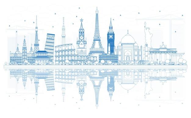 有名な国際的なランドマークで世界一周旅行のコンセプトを概説します。ベクトルイラスト。ビジネスと観光の概念。プレゼンテーション、プラカード、バナー、またはwebサイトの画像。
