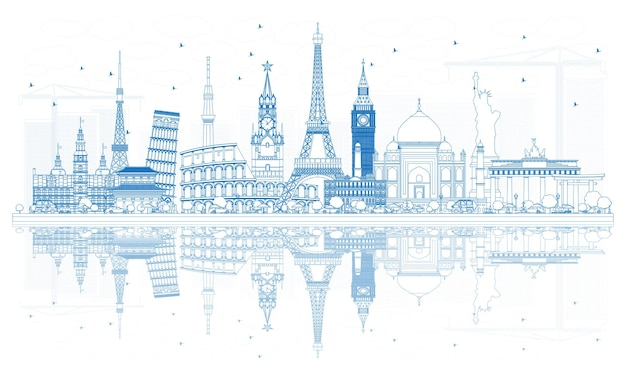 Outline travel concept around the world with famous international landmarks. vector illustration. business and tourism concept. image for presentation, placard, banner or web site.