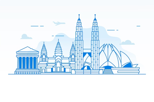 Outline traveling landmarks skyline