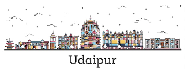 Outline udaipur india city skyline with color buildings isolated on white. vector illustration. udaipur cityscape with landmarks.