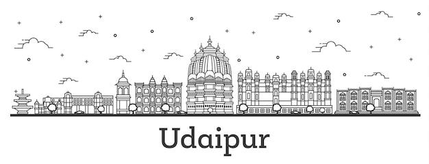 白で隔離された歴史的建造物とウダイプールインドの街のスカイラインの概要を説明します。ベクトルイラスト。ランドマークのあるウダイプールの街並み。