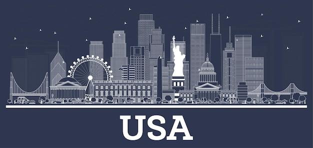 흰색 건물이 있는 미국 도시 스카이라인 개요. 벡터 일러스트 레이 션. 역사적인 건축과 비즈니스 여행 및 개념. 랜드마크가 있는 미국 풍경입니다.