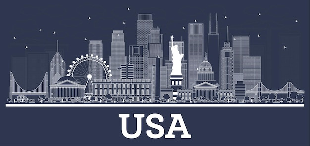 Outline usa city skyline with white buildings. vector illustration. business travel and concept with historic architecture. usa cityscape with landmarks.