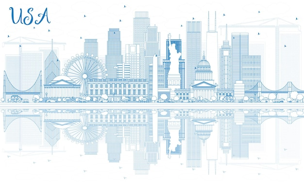 푸른 고층 빌딩과 랜드마크가 있는 미국 스카이라인 개요. 벡터 일러스트 레이 션. 현대 건축과 비즈니스 여행 및 관광 개념입니다. 프레젠테이션 배너 현수막 및 웹사이트용 이미지.