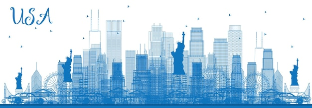 Outline usa skyline with blue skyscrapers and landmarks. vector illustration. business travel and tourism concept with modern architecture. image for presentation banner placard and web site. Premium Vector