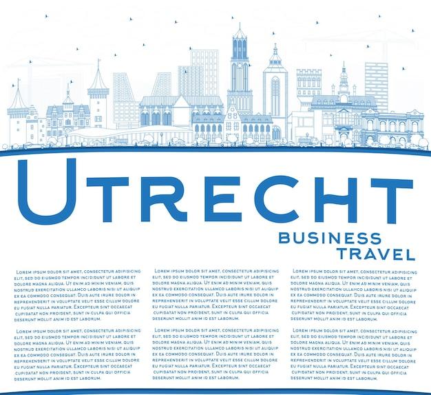 파란색 건물 및 복사 공간이 있는 위트레흐트 네덜란드 도시 스카이라인 개요