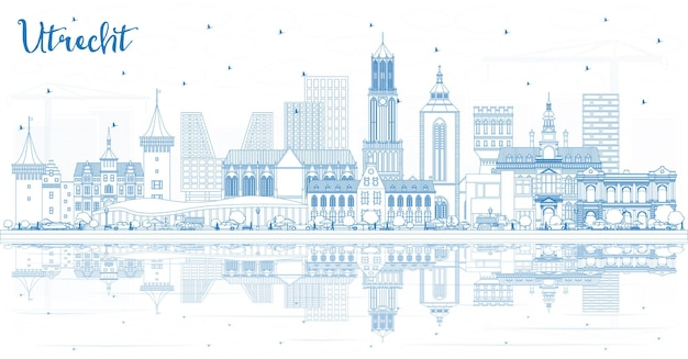 파란색 건물과 반사가 있는 위트레흐트 네덜란드 도시 스카이라인 개요. 역사적인 건축과 비즈니스 여행 및 관광 개념. 랜드마크가 있는 위트레흐트 도시 풍경.