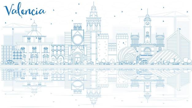 파란색 건물과 반사가 있는 발렌시아 스카이라인 개요. 벡터 일러스트 레이 션. 역사적인 건축과 비즈니스 여행 및 관광 개념입니다. 프레젠테이션 배너 현수막 및 웹사이트용 이미지.