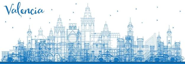 파란색 건물이 있는 발렌시아 스카이라인 개요. 벡터 일러스트 레이 션. 역사적인 건축과 비즈니스 여행 및 관광 개념입니다. 프레젠테이션 배너 현수막 및 웹사이트용 이미지.