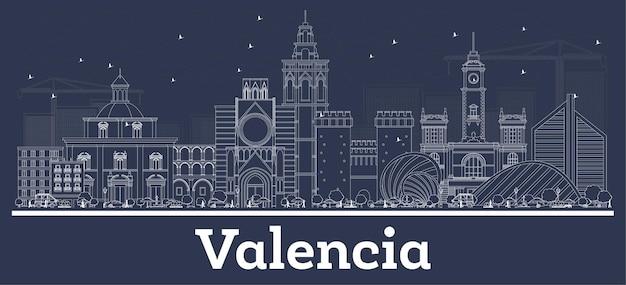 Наброски на фоне линии горизонта города валенсии испании с белыми зданиями. векторные иллюстрации. деловые поездки и концепция с исторической архитектурой. городской пейзаж валенсии с достопримечательностями.