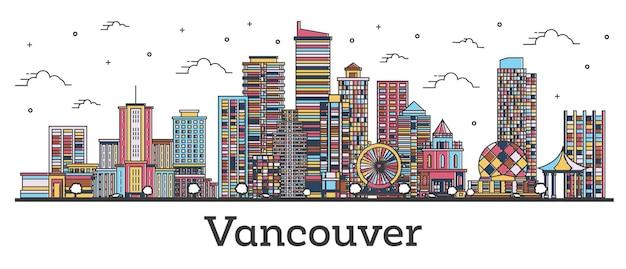 흰색 절연 색상 건물 개요 밴쿠버 캐나다 도시 스카이 라인. 벡터 일러스트 레이 션. 랜드마크가 있는 밴쿠버 도시 풍경.