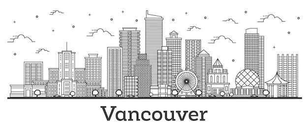 흰색 절연 현대적인 건물과 밴쿠버 캐나다 도시의 스카이 라인 개요. 벡터 일러스트 레이 션. 랜드마크가 있는 밴쿠버 도시 풍경.