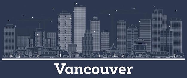 흰색 건물이 있는 밴쿠버 캐나다 도시 스카이라인 개요. 벡터 일러스트 레이 션. 현대 건축과 비즈니스 여행 및 개념. 랜드마크가 있는 밴쿠버 도시 풍경.