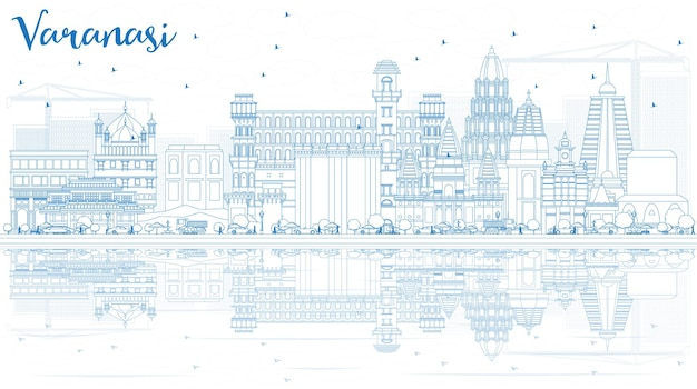 Outline varanasi india skyline with blue buildings and reflections. vector illustration. business travel and tourism concept with historic architecture.