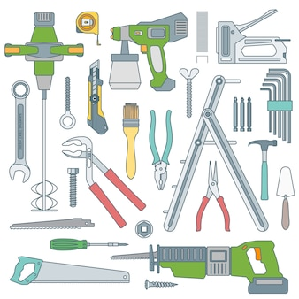 Outline various house repair tools instruments set