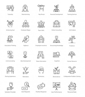 Outline vector icons of human resource