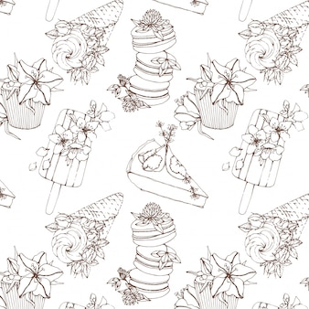Outline vector seamless pattern with sweets and flowers