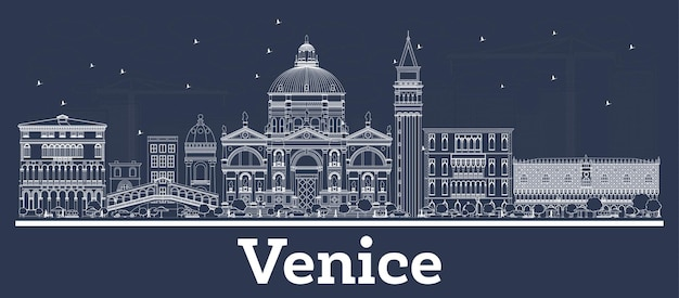 Outline venice italy city skyline with white buildings. vector illustration. business travel and concept with modern architecture. venice cityscape with landmarks.
