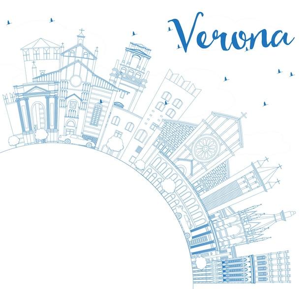 Наброски горизонта города верона италия с синими зданиями и копией пространства