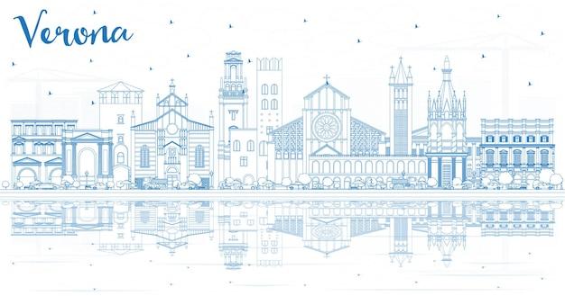 Очертите горизонт города верона италия с голубыми зданиями и размышлениями. иллюстрация