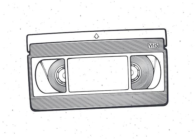 Outline of vhs cassette vector illustration video tape record system