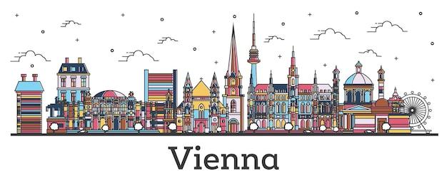 Наброски горизонты города вена австрия с цветными зданиями, изолированные на белом. векторные иллюстрации. городской пейзаж вены с достопримечательностями.