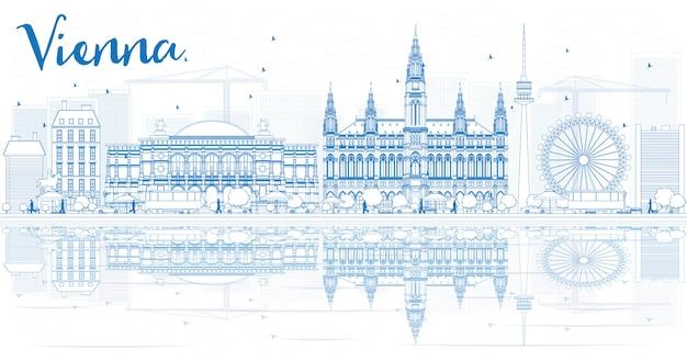 파란색 건물 및 반사 비엔나 스카이 라인을 설명합니다.