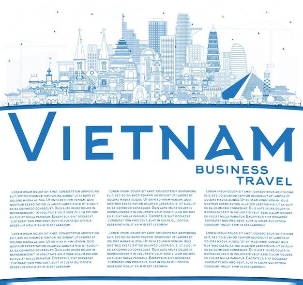 파란색 건물과 복사 공간 삽화가 있는 베트남 도시 스카이라인 개요